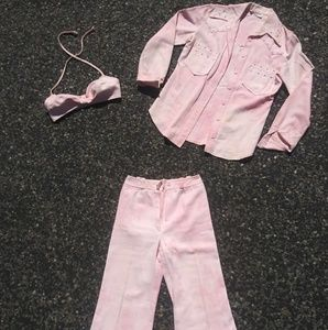 VTG XS 3-Piece 70's Pink & White Tie Dye Outfit